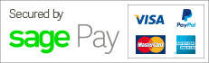 Secured by Sagepay - we support Visa, Mastercard, American Express and Paypal.